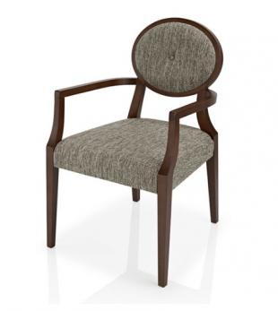 chaise en bois et tissu gris avec accoudoirs