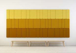 panneau acoustique design mural jaune pour entreprise