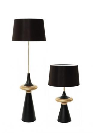 luminaire style classique en laiton noir et coton