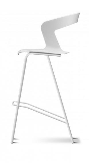 tabouret design en acier et polypropylène blanc