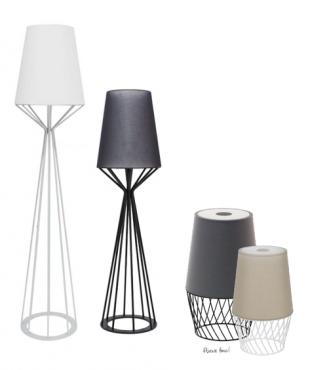 luminaire design en acier laqué et coton blanc ou noir
