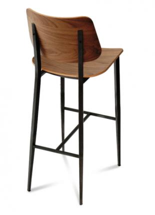 tabouret en acier et assise en bois avec dossier