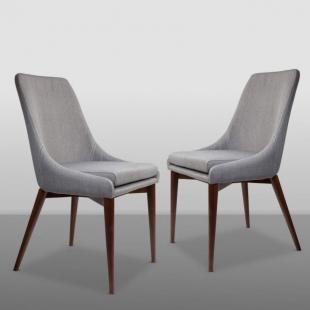 chaise design en bois de noyer et assise en tissu gris