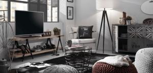 pièce d'ambiance industriel chic mobilier en acier