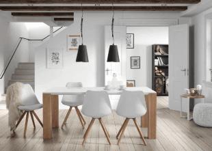 tables chaises et luminaire décoration scandinave