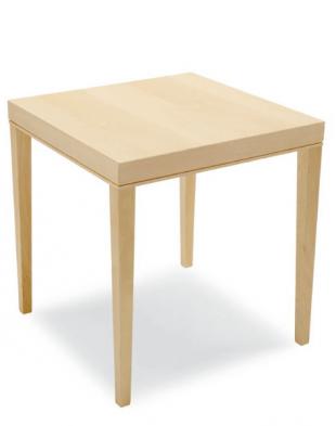 table carrée en bois clair ou wengé