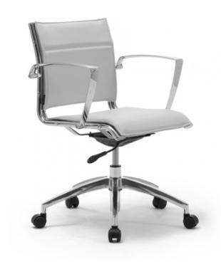 chaise de bureau moderne acier et cuir blanc
