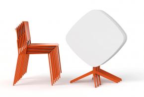 table design avec pieds en métal orange