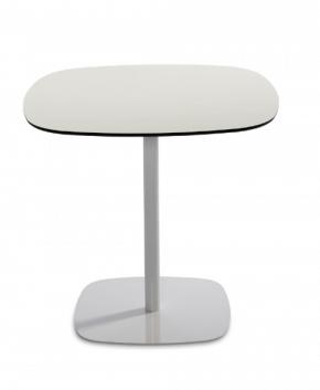 table design avec pied unique métal et verre blanc