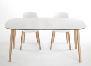 table design en bois et verre blanc