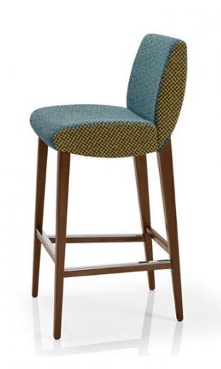 tabouret en bois et tissu avec assise rembourrée bleue