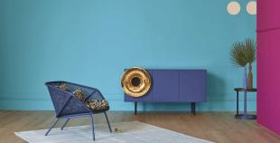 chaise et mobilier de rangement bleu design