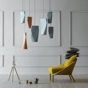 fauteuil jaune et luminaire design style scandinave