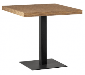 table carrée à pied unique en acier et bois