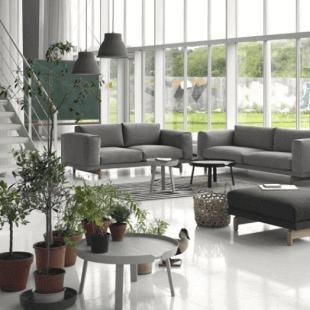 pièce d'ambiance scandinave mobilier gris en bois