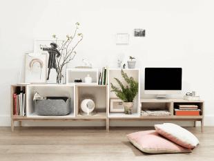 mobilier de rangement en bois style scandinave