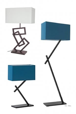 lampe de bureau design en acier laqué et coton coloré