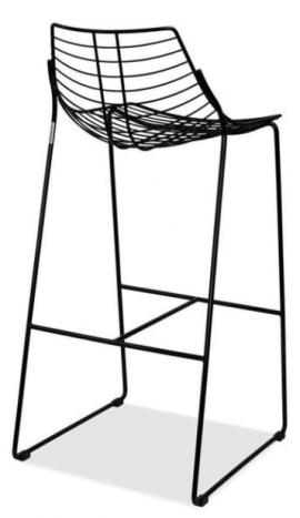 tabouret de bar design en acier laqué noir