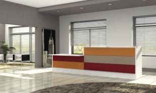 banque d'accueil droite colorée orange rouge et gris