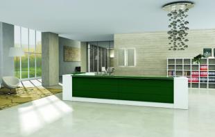 comptoir d'accueil en angle blanc et vert