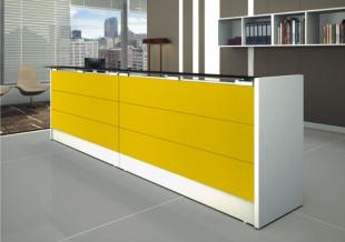 banque d'accueil jaune design moderne et coloré