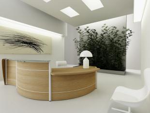 comptoir d'accueil circulaire en bois brut