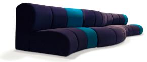 banquettes modulables colorées bleu et violet