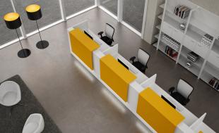 banques d'accueil blanc et jaune design moderne