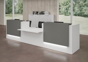 banque d'accueil ergonomique blanche pour entreprise