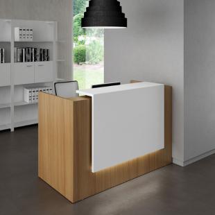 banque d'accueil moderne bois clair et blanc