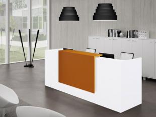 espace d'accueil d'entreprise design avec comptoir coloré