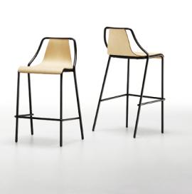 tabouret design en acier et assise en bois