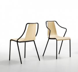 chaise design en acier et assise en bois