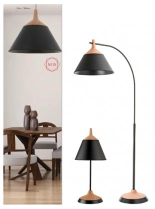 luminaire halogène ou suspension en acier laqué noir et bois