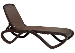 bain de soleil chaise longue en résille marron
