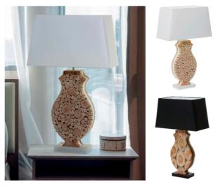 lampe de chevet design pieds en rondins de bois taillés