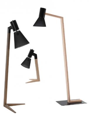 luminaire design halogène ou chevet en bois et métal noir