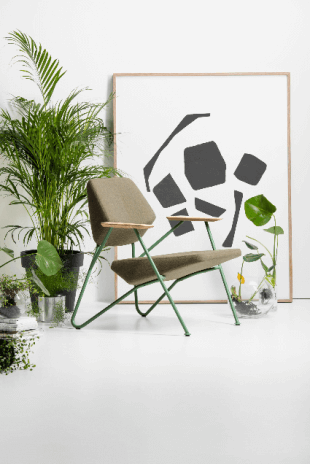 chaise basse design vert kaki style contemporain