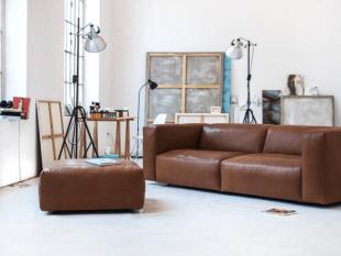 canapé en cuir style industriel vintage