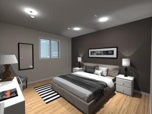 Plan 3D chambre parentale style moderne noir et blanc