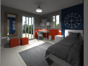 plan 3D chambre jeune couleurs gris orange et blanc