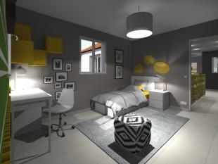 décoration chambre d'adolescent gris blanc et jaune