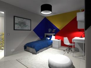 plan 3D chambre pour enfant décoration colorée