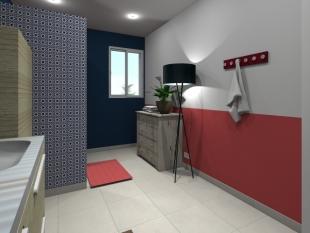 aménagement salle de bain colorée douche italienne