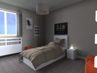 aménagement chambre privée couleurs gris noir et orange