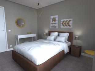 plan 3D chambre mobilier blanc gris et bois clair