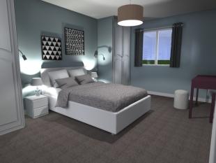 décoration chambre style scandinave couleurs gris et blanc