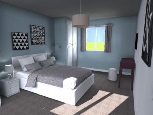 Plan 3D aménagement chambre inspiration scandinave