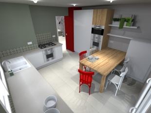 Plan 3D cuisine aménagée couleurs rouge et blanc