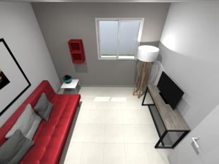 Plan 3D pièce aménagée canapé rouge et luminaire